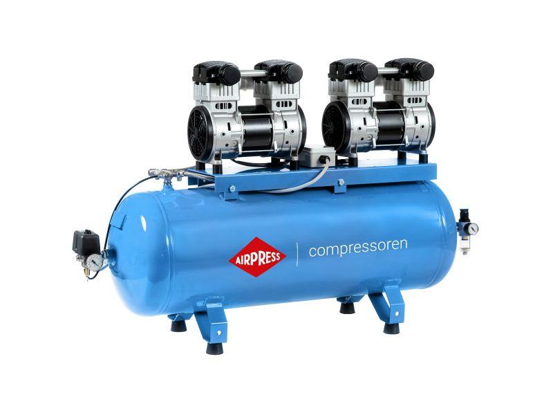 Stille Olievrije Compressor LMO 196X2-100 8 bar 3.2 pk/1.5 kW 240 l/min 100 l