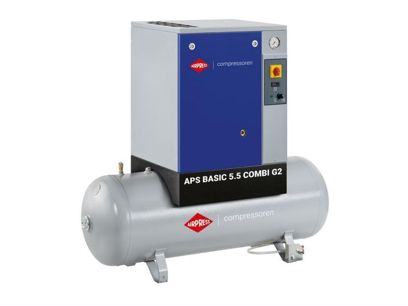 Schroefcompressor APS 5.5 Basic G2 Combi 10 bar 5.5 pk/4 kW 516 l/min 200 l