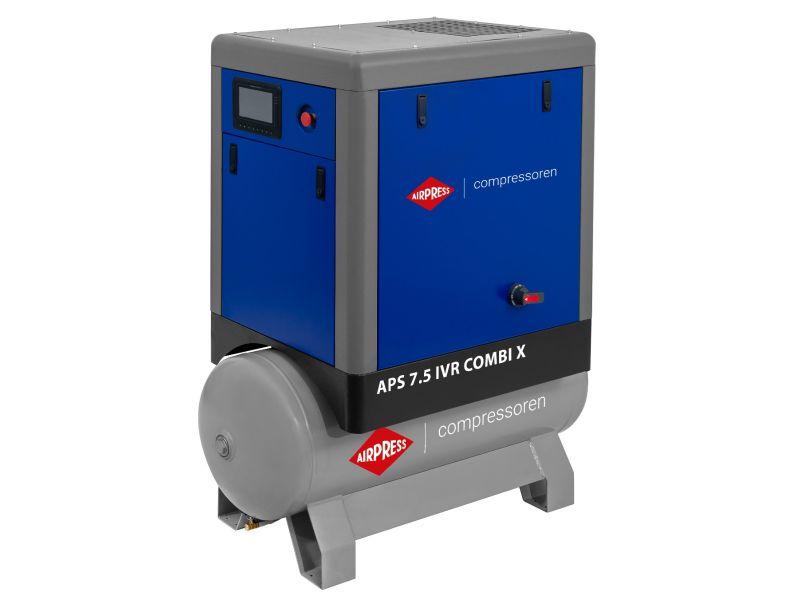 Schroefcompressor APS 7.5 IVR Combi X 10 bar 7.5 pk/5.5 kW 170-690 l/min 200 l