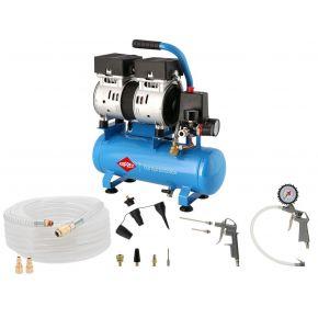 Stille Olievrij Compressor L 6-105 8 bar 0.6 pk/0.45 kW 25 l/min 6 l Plug & Play