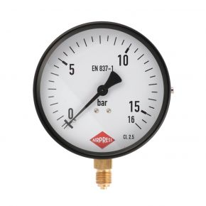 "Manometer  1/4"" 16 bar onder aansluiting 100 mm"