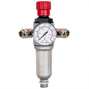 """Olie-/Waterafscheider met Reduceerventiel 3/8"""" 10 bar met 2 snelkoppelingen"""