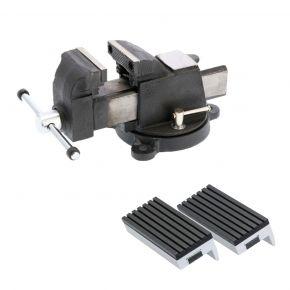"""Stalen bankschroef 3"""" 75 x 120 mm + Beschermbekken rubber 75 mm Plug & Play"""