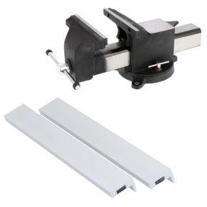 """Stalen bankschroef 10"""" 250 x 265 mm met beschermbekken aluminium 250 mm Plug & Play"""