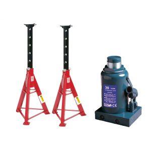Potkrik 30 ton 465 mm schotelhoogte en 2 Assteunen JJ 16 ton 670-1020 mm Plug & Play