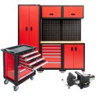 Werkplaatsinrichting modulair met gereedschapswagen 217 delig en stalen bankschroef Plug & Play