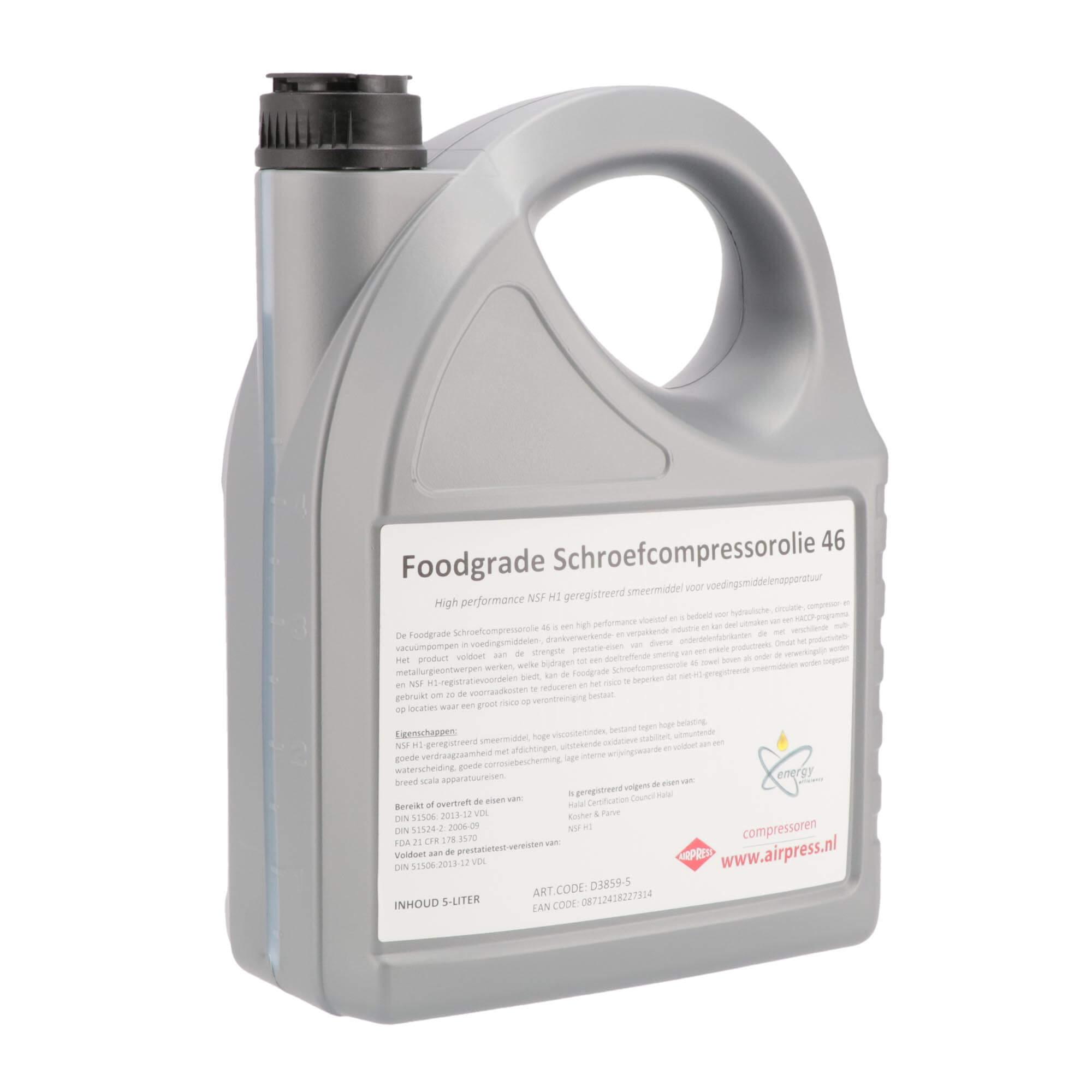 Schroefcompressor olie 5 l foodgrade