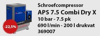 APS 7.5 combi dry X schroefcompressor aanbieding