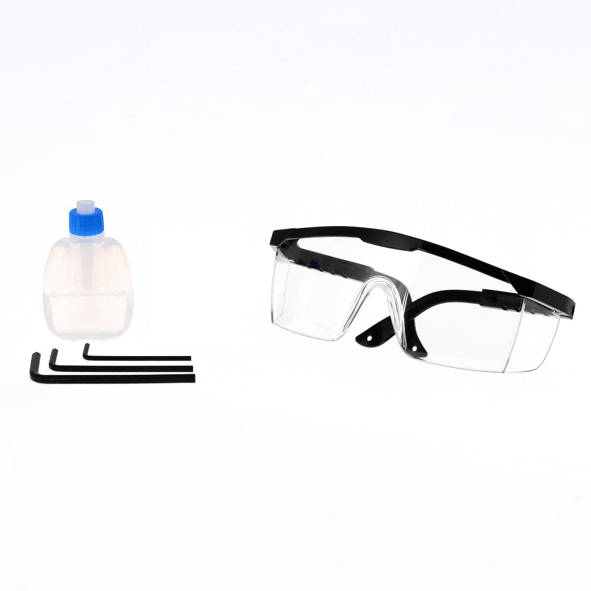 Bril, olie en inbussleutels