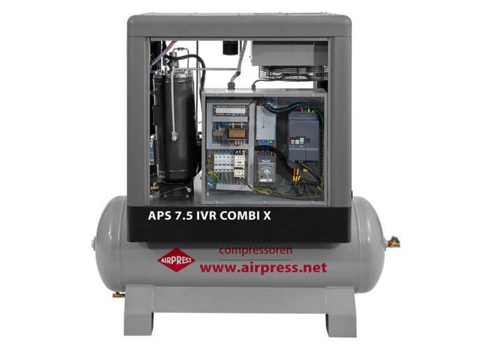 Voorkant schroefcompressor APS 7.5 IVR Combi X